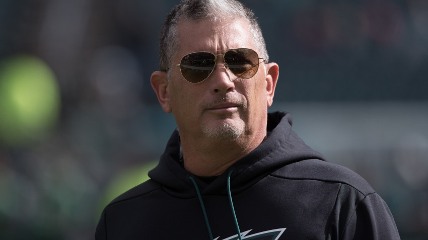 Philadelphia Eagles defensive coordinator Jim Schwartz during a game against the Carolina Panthers at Lincoln Financial Field.