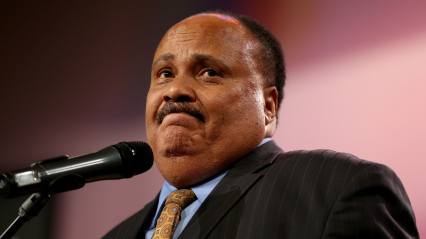 In this Aug. 17, 2014, file photo, Martin Luther King III speaks during an event for slain 18-year-old Michael Brown at the Greater Grace Church in Ferguson, Missouri.