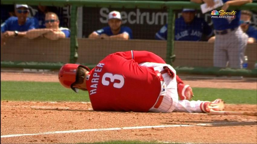 [CSNPhily] Bryce Harper gets hit in ankle, leaves spring training game early