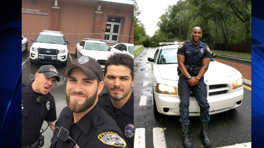 091217 Gainesville Handsome Cops Selfies