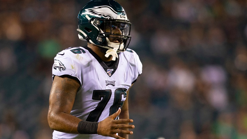 Shareef Miller of the Eagles in action against the Tennessee Titans in a preseason game.