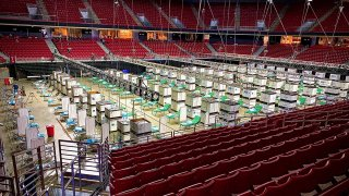 The city has established a field hospital inside Temple's Liacouras Center in case it's needed for a surge in patients.