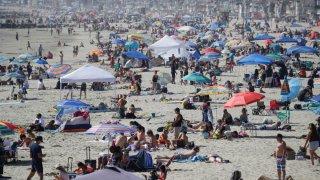 A crowd at a beach