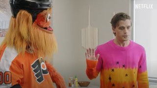 Gritty in a kitchen