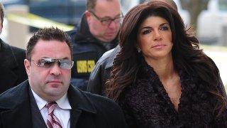 Teresa Giudice and Joe Giudice are seen outside a federal criminal court in Newark, New Jersey.