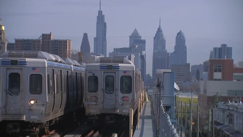 Two SEPTA trains pass each other in Philadelphia