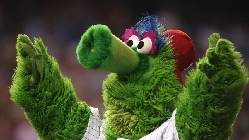 The Philly Phanatic mascot of the Philadelphia Phillies performs