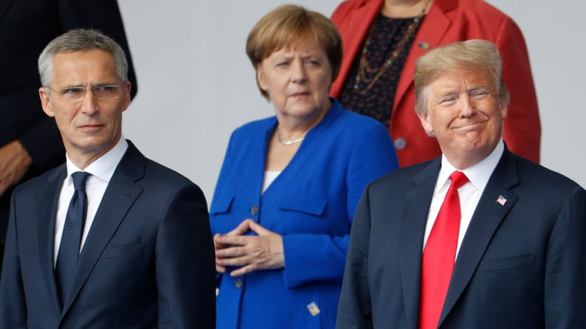 In this July 11, 2018, file photo, NATO Secretary General Jens Stoltenberg, German Chancellor Angela Merkel, US President Donald Trump, Greek Prime Minister Alexis Tsipras and other leaders gather for a family photo for the North Atlantic Treaty Organization summit at the NATO headquarters in Brussels.