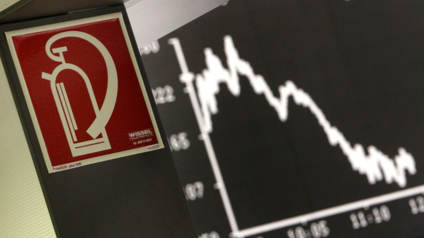 The sign for a fire extinguisher hangs next to the curve of the German stock index DAX at the stock market in Frankfurt, Germany.