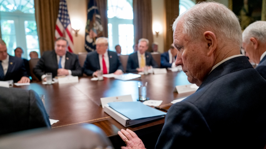 Attorney General Jeff Sessions attends a cabinet meeting in the Cabinet Room of the White House, Thursday, Aug. 16, 2018, in Washington.