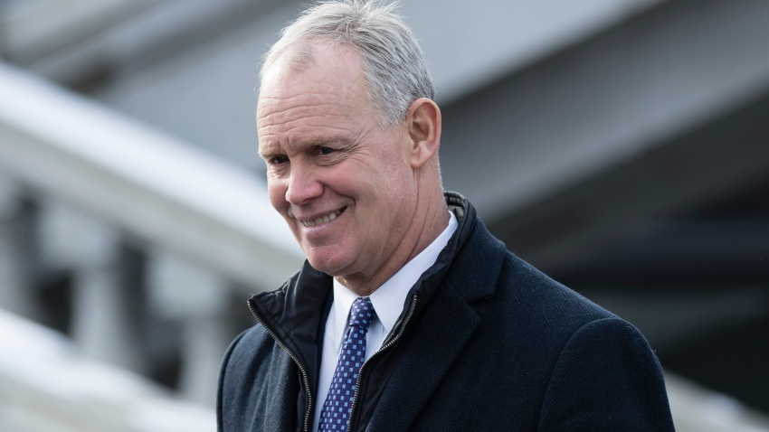 Rep. Mike Turzai, R-Allegheny, watches as Pennsylvania Gov. Tom Wolf takes the oath of office, Jan. 15, 2019, in Harrisburg, Pennsylvania.