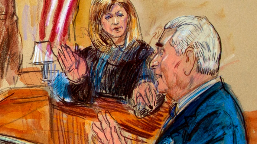 This courtroom sketch shows former campaign adviser for President Donald Trump, Roger Stone talking from the witness stand as Judge Amy Berman Jackson listens during a court hearing at the U.S. District Courthouse in Washington, Thursday, Feb. 21, 2019. Berman Jackson issued a broad gag order forbidding Stone to discuss his criminal case with anyone and gave him a stinging reprimand over his posting of a photo of the judge with what appeared to be crosshairs of a gun. (Dana Verkouteren via AP)