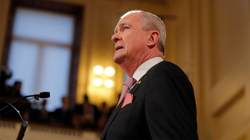 A side profile of New Jersey Governor Phil Murphy as he speaks at the State of the State address in Trenton, New Jersey.