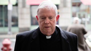 Monsignor William Lynn arrives for a preliminary hearing in his retrial of his child endangerment case at the Center for Criminal Justice, in Philadelphia, March 28, 2017. Monsignor Lynn is the first Roman Catholic church official ever charged with child endangerment over his handling of priest-abuse complaints. His 2012 conviction has twice been overturned, and his retrial is now set for March 16, 2020.