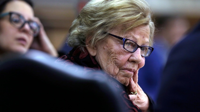"In this March 12, 2019 file photo, New Jersey state Sen. Loretta Weinberg, left, listens to special counsel Michael Critchley, Sr. ask Albert Alvarez questions before the joint legislative oversight committee in Trenton, NJ. A forum in Fort Lee will meet Tuesday, Feb. 11, 2020 and is expected to be the first in a series that aims to shine a light on women's experiences and turning around what some officials said is a ""deeply rooted culture of misogyny."""