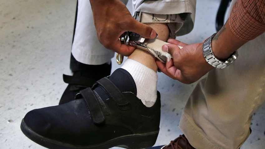 A therapist checks the ankle strap of an electrical shocking device on a student during an exercise program