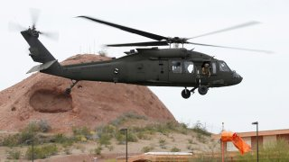 Arizona National Guard Black Hawk helicopter takes off