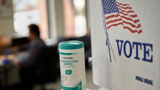 """Disinfecting wipes next to a """"VOTE"""" sign"""