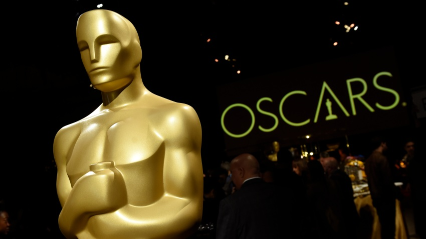 FILE - In this Friday, Feb. 15, 2019, file photo, an Oscar statue is pictured at the press preview for the 91st Academy Awards Governors Ball in Los Angeles.