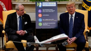 President Donald Trump speaks during a meeting about the coronavirus response with Gov. Phil Murphy, D-N.J., in the Oval Office of the White House, Thursday, April 30, 2020, in Washington.