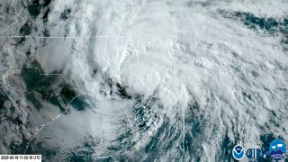 In this satellite image made available by NOAA shows Tropical Storm Arthur off the coast of North Carolina, Monday, May 18, 2020. The storm dropped several inches of rain on parts of eastern North Carolina and flooded roads before moving out to sea away from the state.
