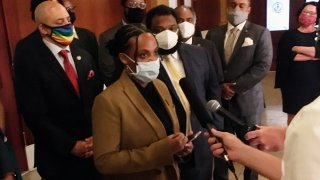 Pennsylvania state Rep. Summer Lee, a Democrat from Pittsburgh, speaks with reporters in the Pennsylvania Capitol in Harrisburg, Pennsylvania, June 8, 2020.Lee and other Democrats commandeered the state House rostrum on Monday to press for movement on bills to change police procedures and accountability.