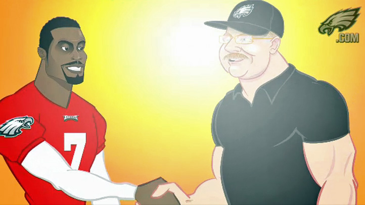 Animated Michael Vick and Andy Reid