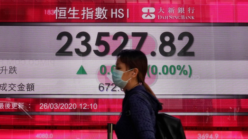 In this March 26, 2020, file photo, a woman wearing face mask walks past a bank electronic board showing the Hong Kong share index at Hong Kong Stock Exchange.