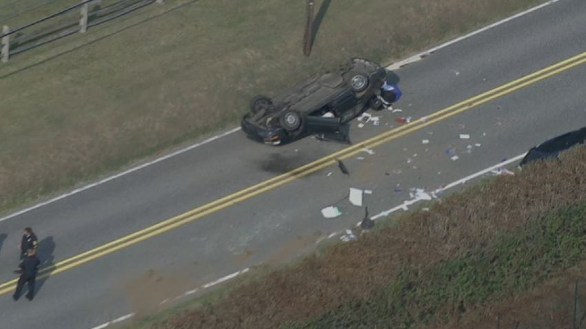 Berwyn Goshen Road Car Overturned