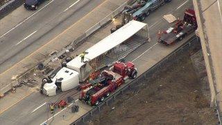 Overturned truck on I-78