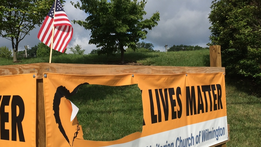 Black Lives Matter First Unitarian Church Wilmington Vandalism Banner