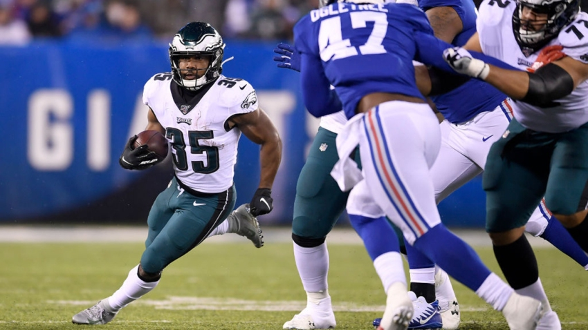 Boston Scott #35 of the Philadelphia Eagles runs the ball against the New York Giants during the second quarter in the game at MetLife Stadium on December 29, 2019 in East Rutherford, New Jersey.