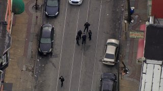Police officers at a shooting scene in North Philadelphia