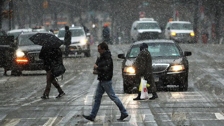 Snow Streets Traffic Pedestrians