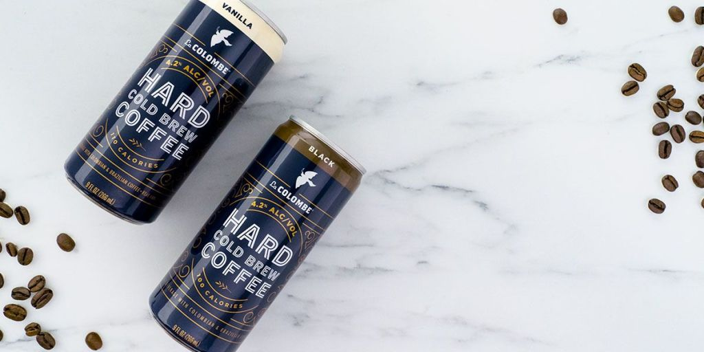 Two cans of Hard Cold Brew Coffee by La Colombe. One is Vanilla and one is Black.
