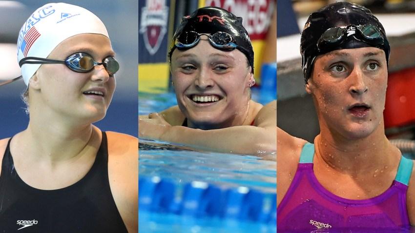 Cierra Runge Kelsi Worrell LEah Smith Swimming