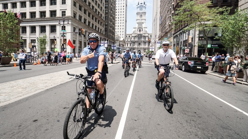 DNC Day 1 bike patrols S Broad Joe K