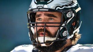 Jason Kelce in his helmet