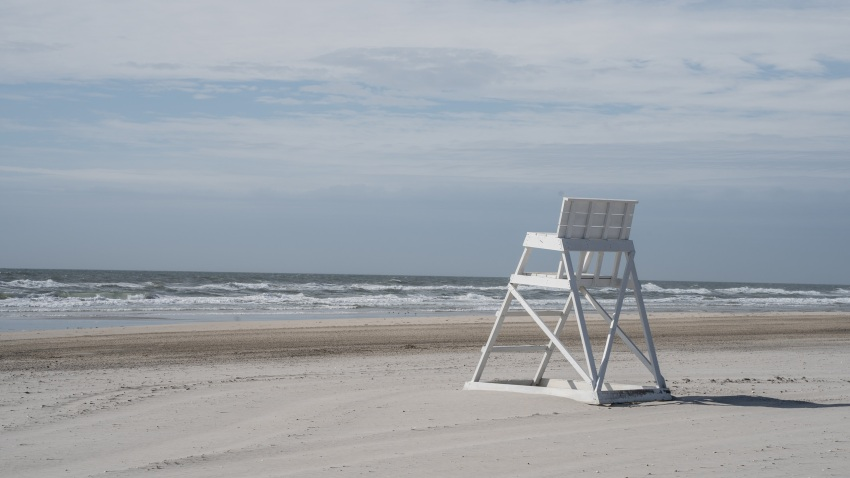 Empty lifeguard chair in Avalon, New Jersey.