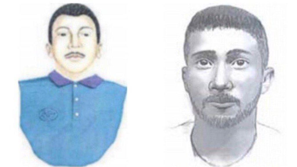 Composite sketches of the Fairmount Park rapist. Left: a sketch of a man with short black hair, a moustache and wearing a blue collared shirt. Right: A black and white sketch of a man with short hair and a goatee.