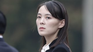 In this March 2, 2019, file photo, Kim Yo Jong, sister of North Korean leader Kim Jong Un, attends a wreath laying ceremony at the Ho Chi Minh Mausoleum in Hanoi, Vietnam.