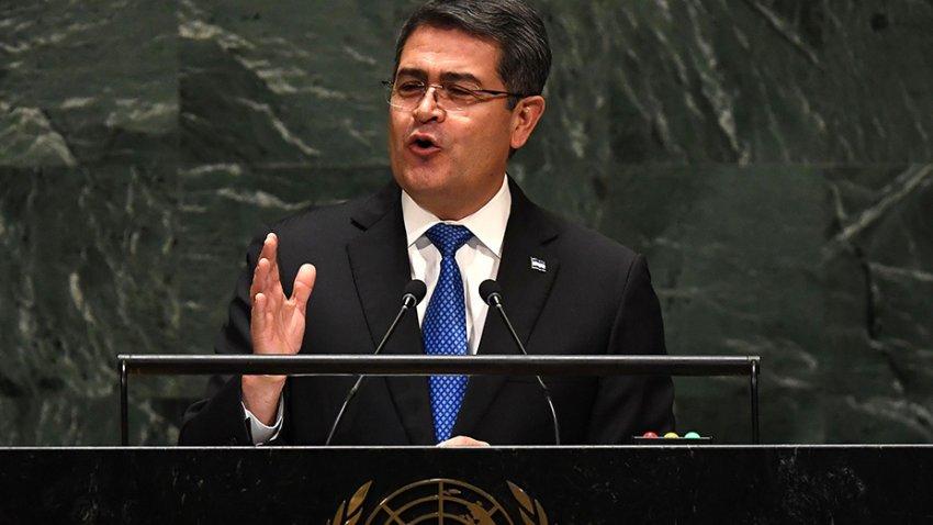 In this Sept. 25, 2019, file photo, President of Honduras Juan Orlando Hernandez Alvarado speaks at the 74th Session of the General Assembly at the United Nations headquarters in New York.