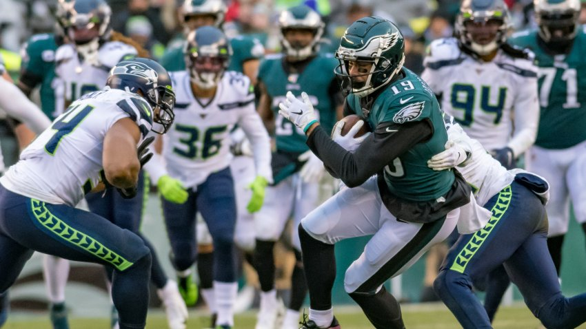 Philadelphia Eagles wide receiver J.J. Arcega-Whiteside (19) catches a pass during the National Football League game between the Seattle Seahawks and Philadelphia