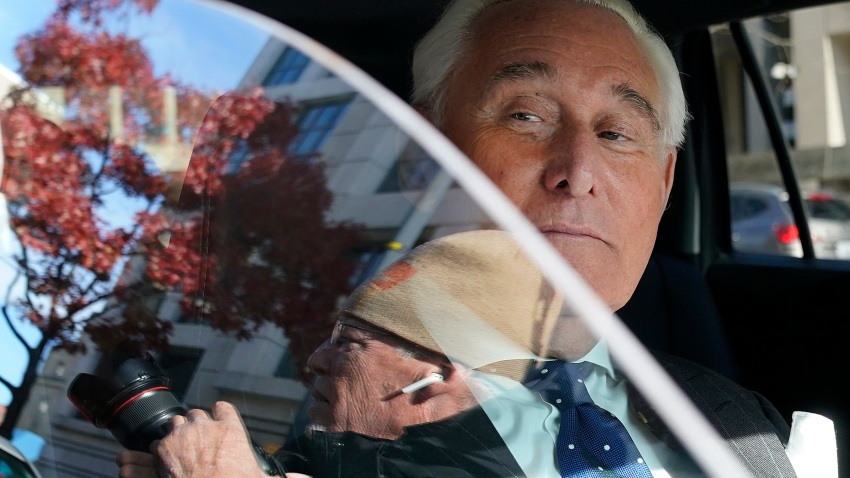 Roger Stone is pictured in a car after leaving federal court in Washington.