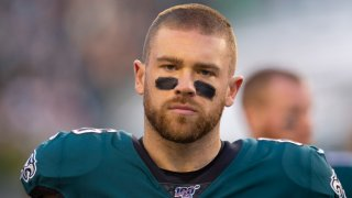 Zach Ertz #86 of the Philadelphia Eagles looks on against the Dallas Cowboys at Lincoln Financial Field