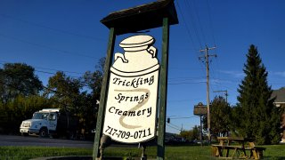 The sign in front of the shuttered Trickling Springs Creamery in Chambersburg, Pennsylvania