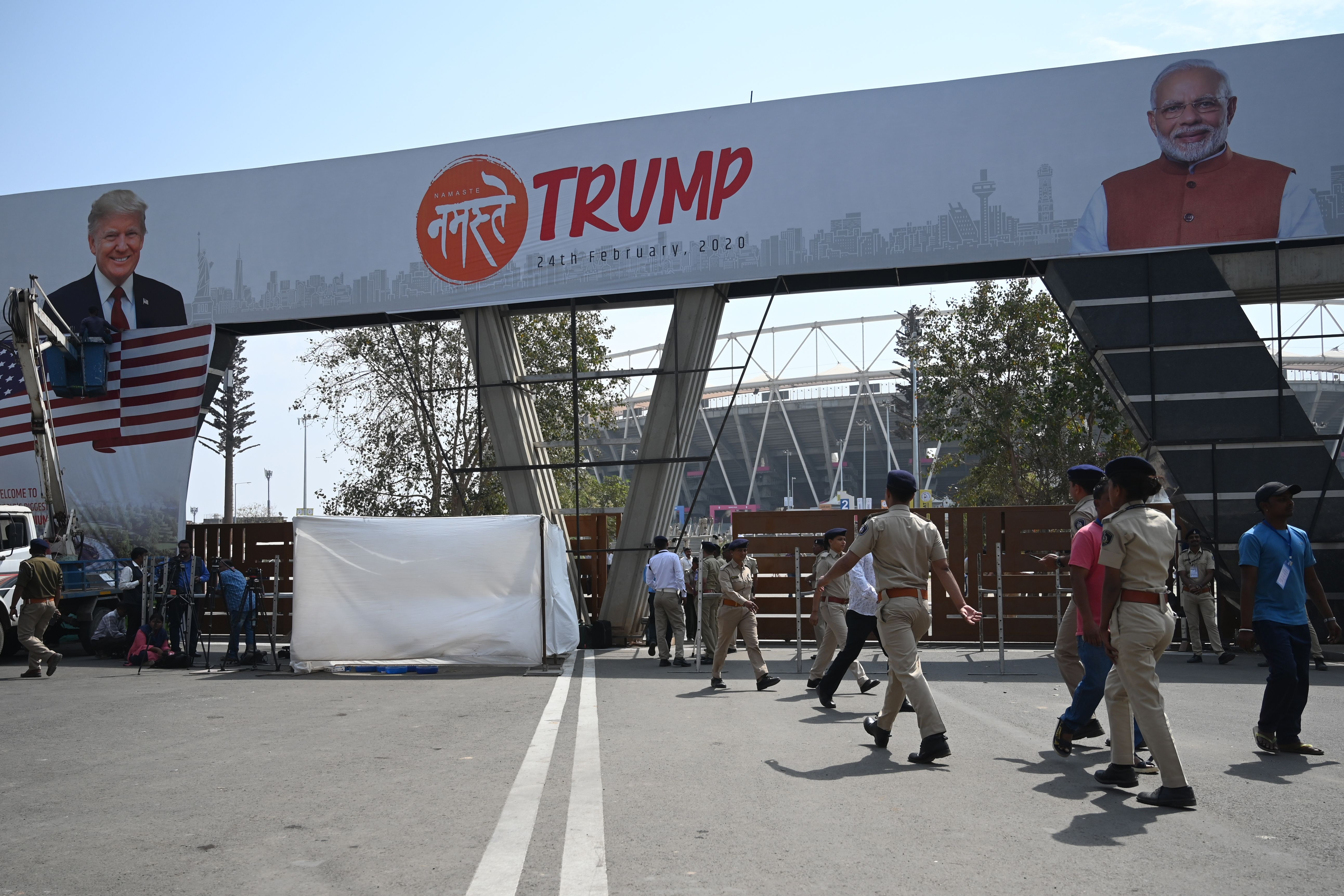 indian authorities scramble to give trump a mega rally