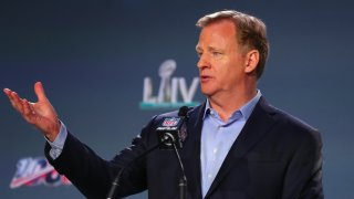 NFL Commissioner Roger Goodell speaks at a news conference on Jan. 29, 2020, at the Hilton Downtown in Miami.