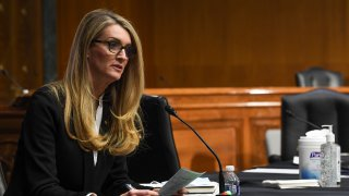 U.S. Senator Kelly Loeffler (R-GA) questions the witnesses, who were appearing remotely, during the Senate Committee for Health, Education, Labor, and Pensions hearing on COVID-19 May 12, 2020 in Washington, D.C.