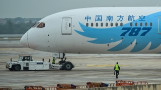A Boeing 787 plane is seen at the Tianhe Airport in Wuhan, China